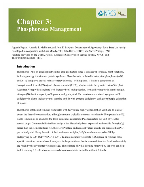 4R Learning Modules: Chapter 3 - Phosphorous Management