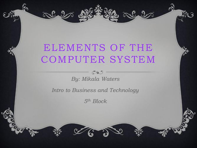 Elements of the Computer System PDF File