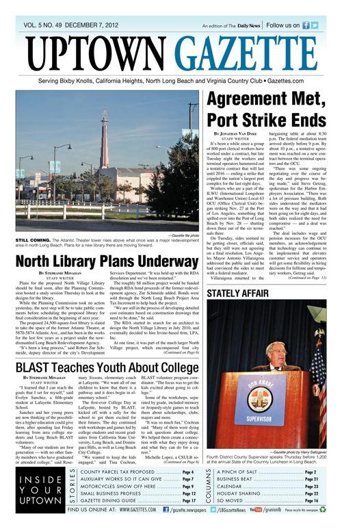 Uptown Gazette     December 7, 2012