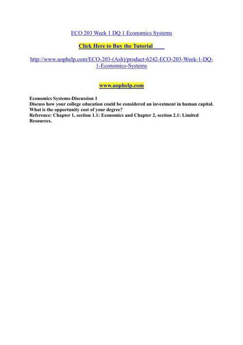 ECO 203 Week 1 DQ 1 Economics Systems