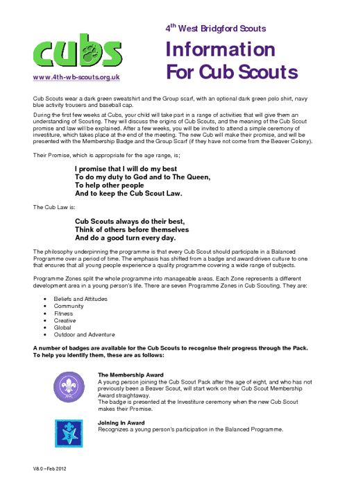 Cubs Information Pack