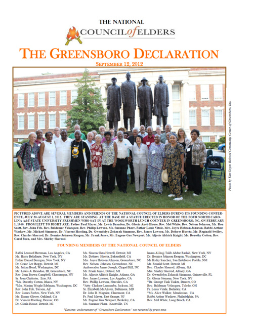 National Council of Elders Launch The Greensboro Declaration