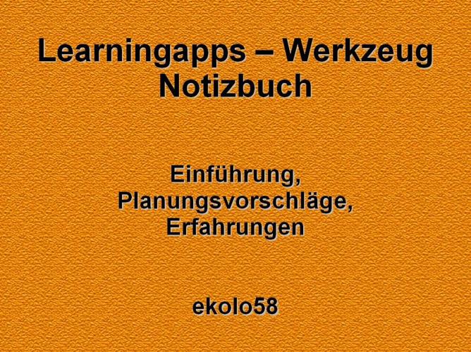 Learningapps - Unterrichtswerkzeug Notizbuch