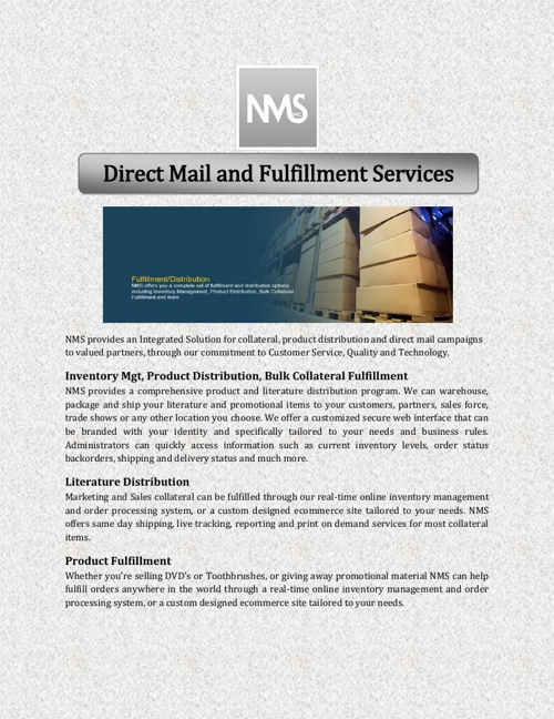 Direct Mail and Fulfillment Services