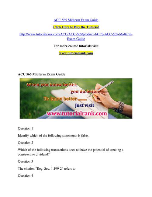 ACC 565 Course Success Begins / tutorialrank.com