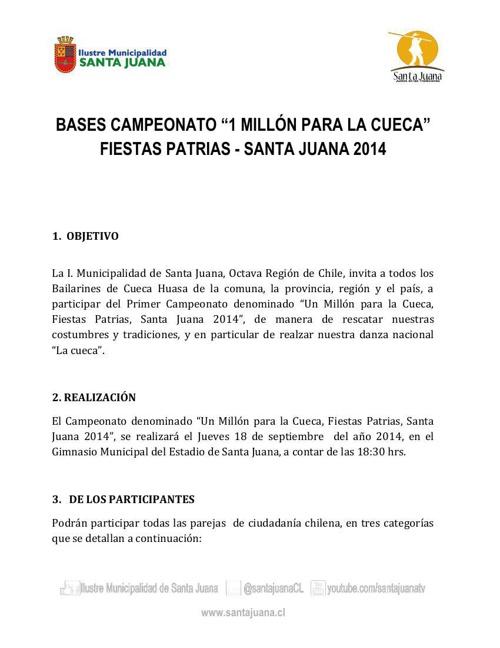 """Bases Campeonato """"1 Millón para la Cueca"""""""