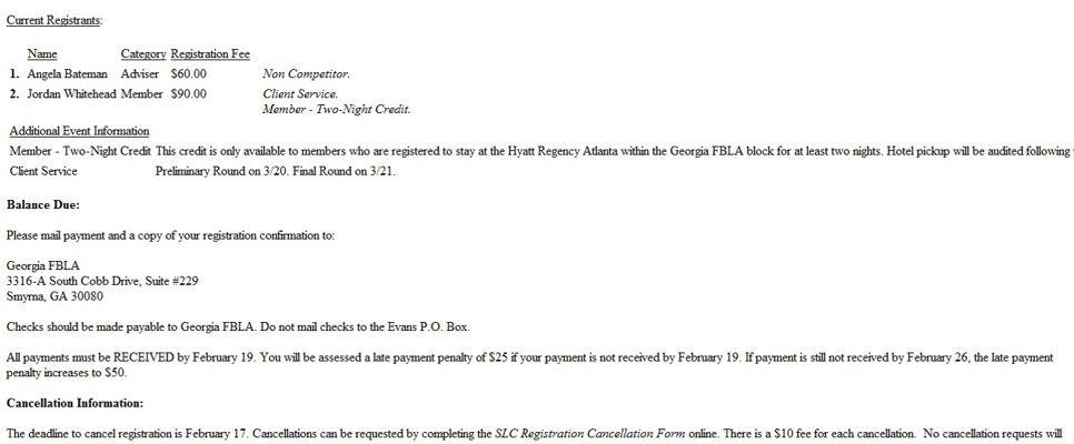FBLA SLC Registration