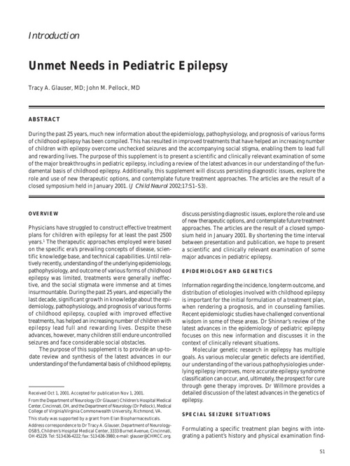 Unmet Needs in Pediatric Epilepsy