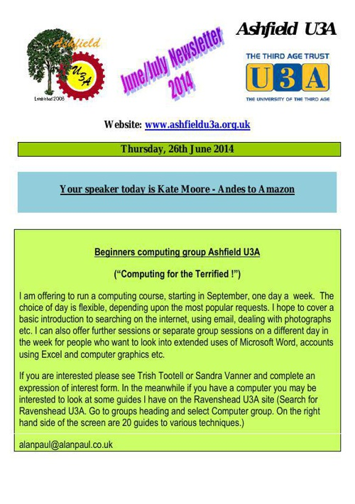 AU3A newsletter for June 2014