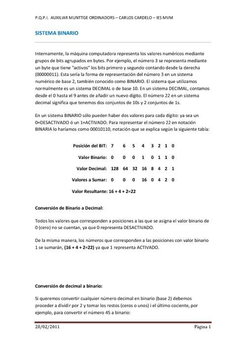 Sistema Binário y Álgebra de Boole