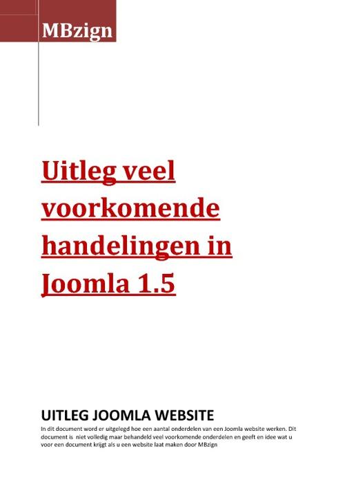 Joomla 1.5 handleiding door MBzign