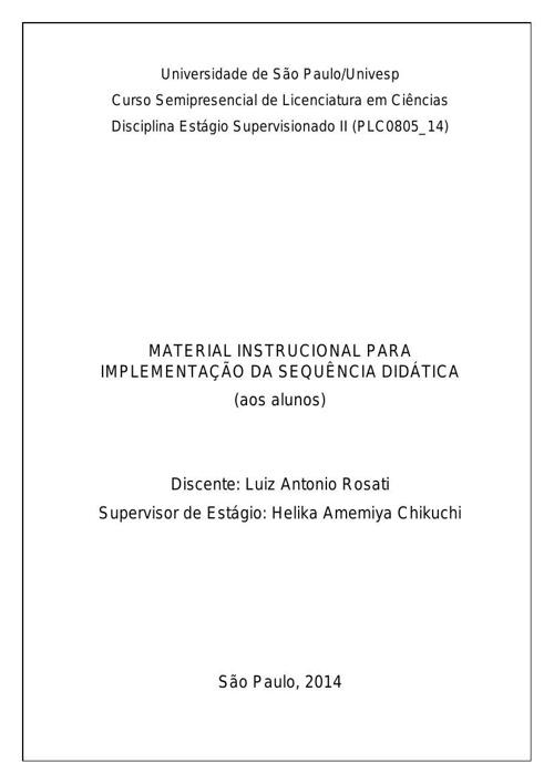 MATERIAL INSTRUCIONAL PARA IMPLEMENTAÇÃO DA SEQUÊNCIA DIDÁTICA -