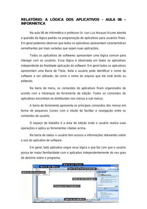 Relatório Aula 06 - Informática