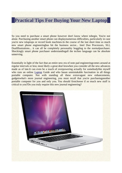 Practical Tips For Buying Your New Laptop