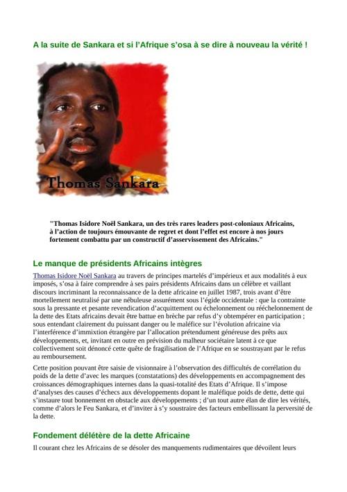 A la suite de Sankara et si l'Afrique s'osa à se dire à nouveau