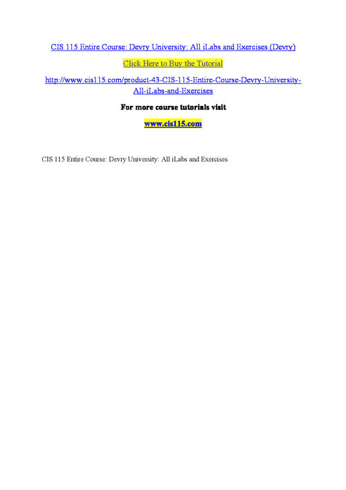 CIS 115  Entire Course Devry University All iLabs and Exercises