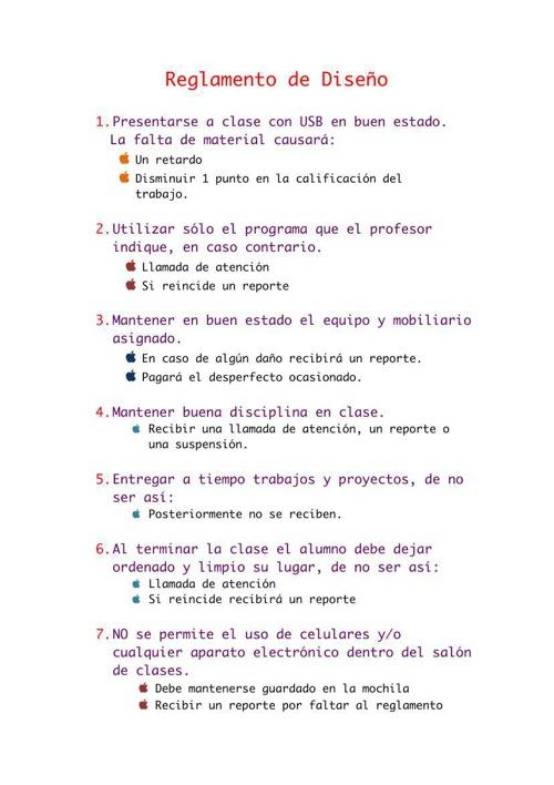 Reglamento de Diseño.