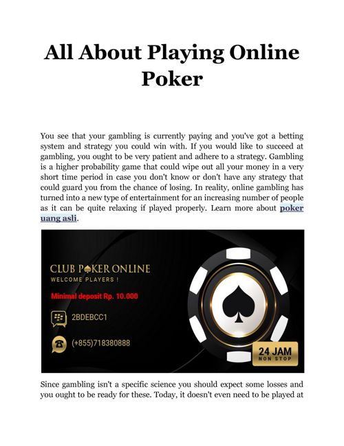 All About Playing Online Poker