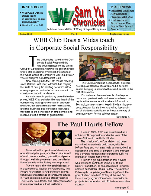 WGC Sam Yu Chronicles News Letter 3