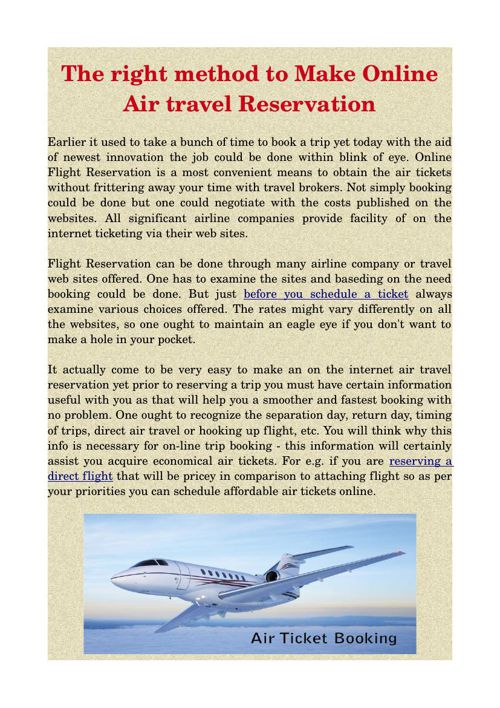 The right method to Make Online Air travel Reservation