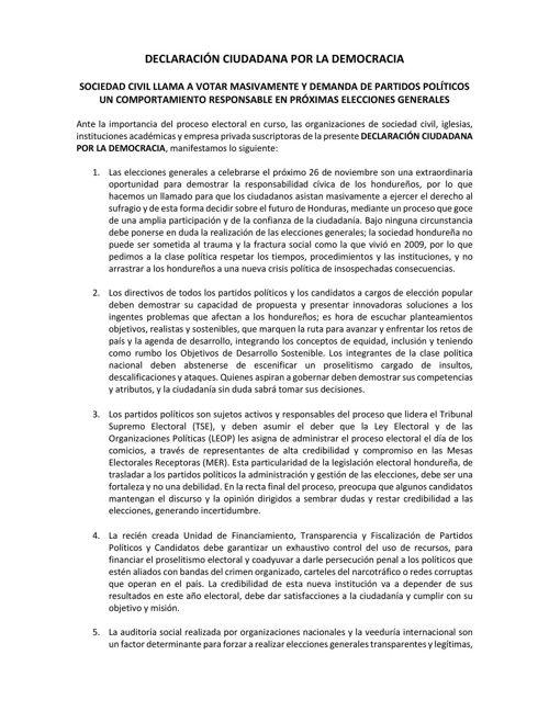 Declaración Ciudadana por la Democracia