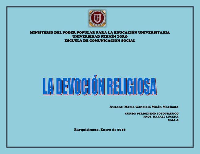 """ALBUM DIGITAL MARÍA G. M. """"LA DEVOCIÓN RELIGIOSA"""""""