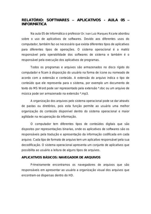 Relatório Aula 05 - Informática