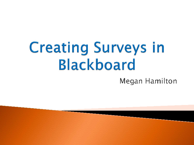Creating Blackboard Surveys