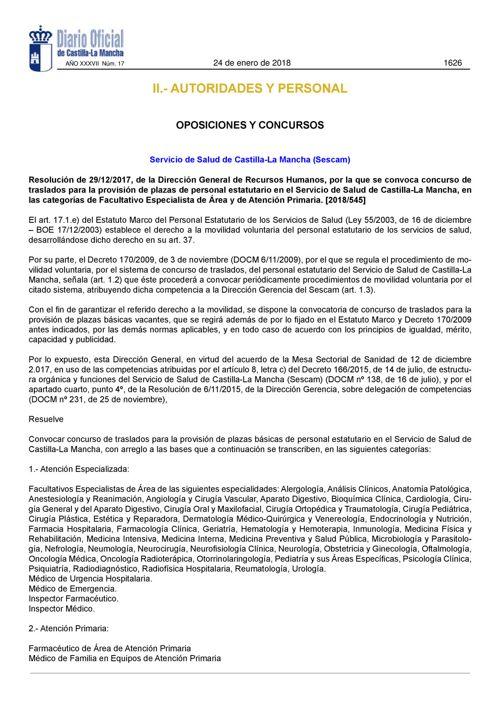180124 DOCM-Resolución 29 12 17 convocatoria Concurso de Traslad