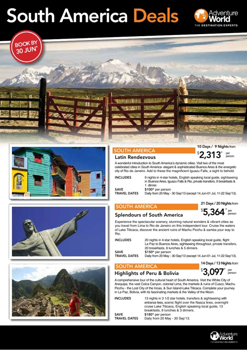 South America Deals Catalogue