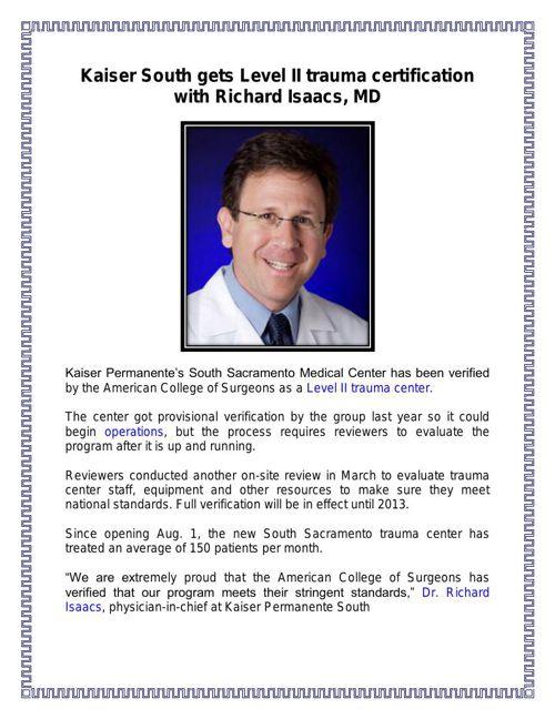 Kaiser gets Level II trauma certification with Richard Isaacs