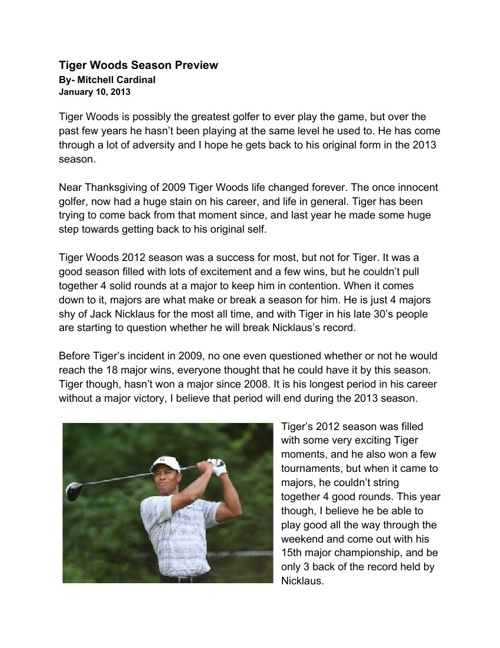 Tiger Woods Season Preview- Mitchell Cardinal