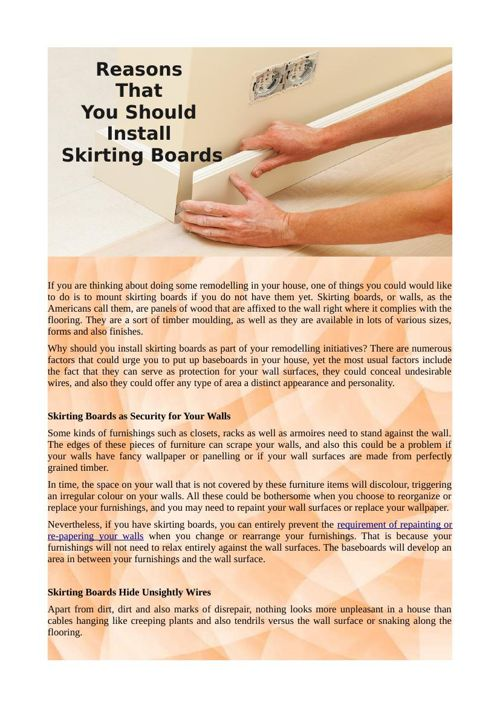 Reasons That You Should Install Skirting Boards