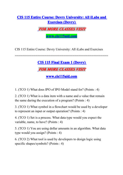 cis115 midterm answers Mis535 entire course as of september 2015mis535 entire course as of september 2015 midterm exam (tco a) domino's cis115 course project.
