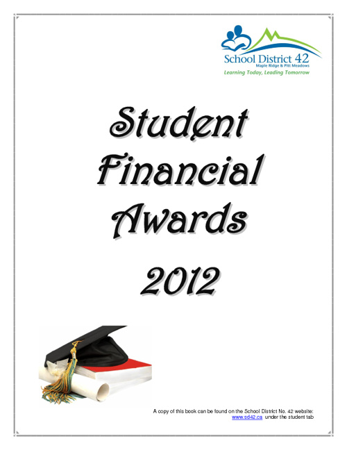 SD42 Scholarship Booklet 2012