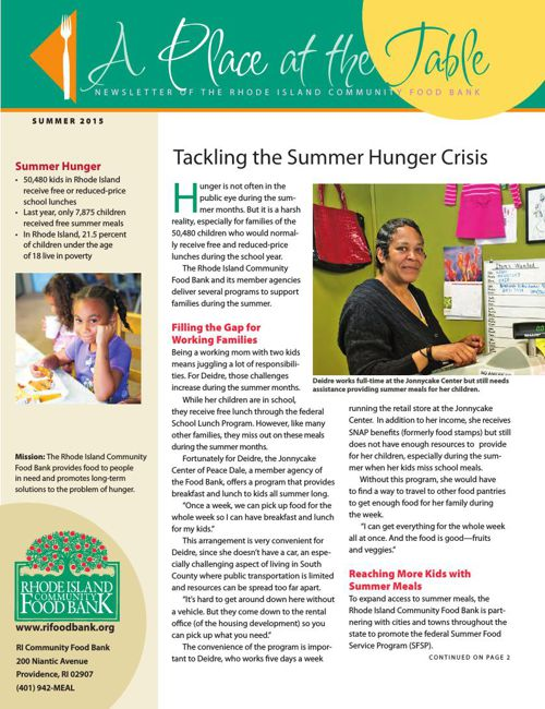 RI Community Food Bank Summer 2015 Newsletter