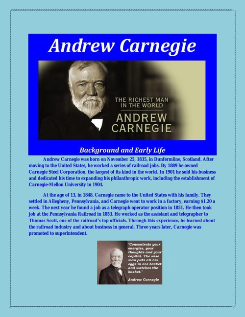 an analysis of andrew carnegie and the rise of big business Get an answer for 'what is a summary for harold c livesay's andrew carnegie and the rise of big business' and find homework help for other andrew carnegie and the rise of big business questions at enotes.