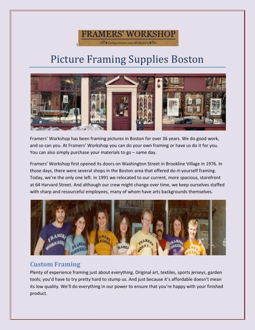 Picture Framing Supplies Boston