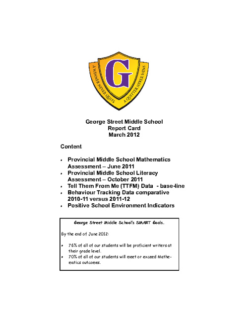 GSMS Report Card March 2012