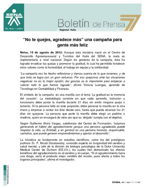 Boletiìn de prensa REGIONAL HUILA
