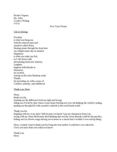 Free Verse poems Final Draft