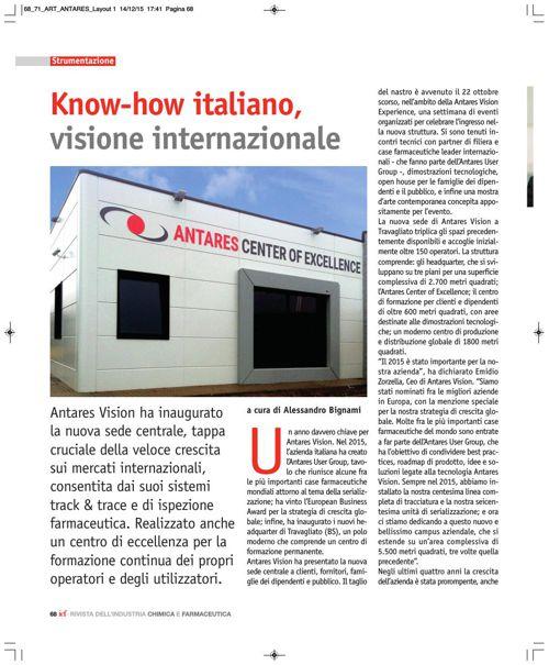 Know-how italiano, visione internazionale (RIVISTA DELL'INDUSTRI