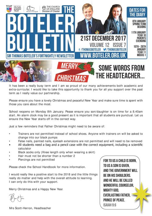 Boteler Bulletin 21st December 2017