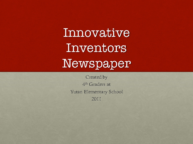 Innovative Inventors Newspaper