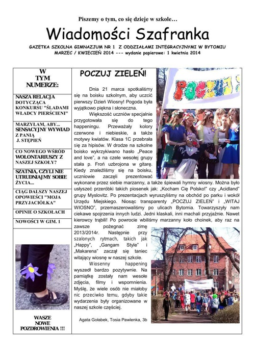 Wiadomości Szafranka 03/04  2014