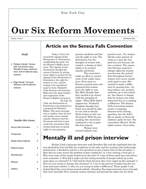 Reform Newspaper Article