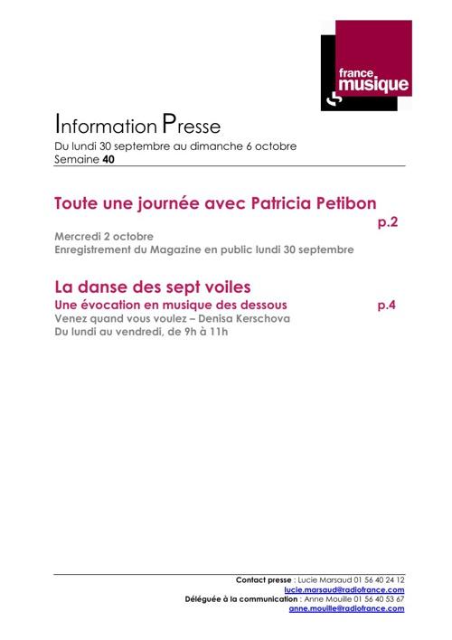 Programmes de France Musique du 30 septembre au 6 octobre