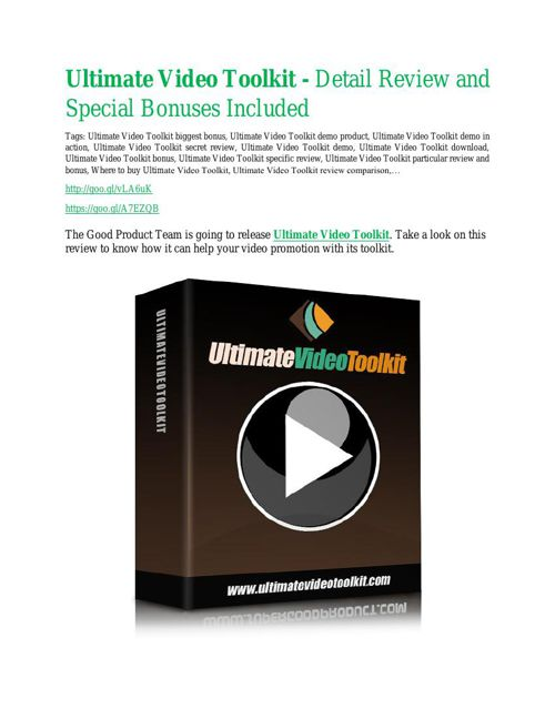 Ultimate Video Toolkit discount coupon