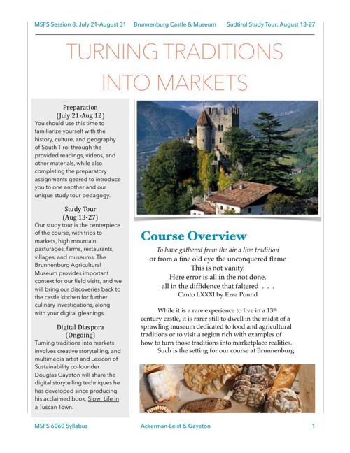Turning Traditions into Markets: 6060 Study Tour