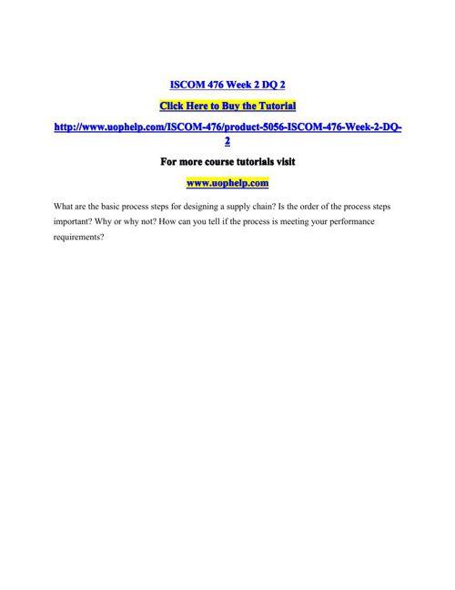 ISCOM 476 Week 2 DQ 2